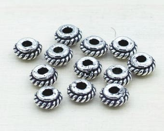 Silver rondelle Beads, Bali style pewter beads for jewelry making, antique silver plated Metal Spacers 5mm 12pcs