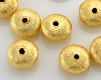 8mm - 10pcs Gold Spacer Beads, brushed gold Saucer beads, gold plated metal beads