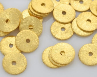 Gold Flat Disk Spacer Beads, brushed gold washers, Disc spacers for jewelry making, Bulk Heishi spacers 8mm - 39pcs