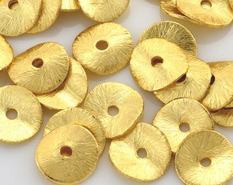 8mm - 15pcs Gold Vermeil Brushed wavy disc spacer beads, potato chips disk beads, gold plated wavy disc