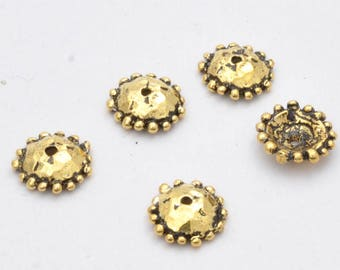 Artisan gold bead caps 10mm antique handmade Bead Caps for jewelry making, gold plated rustic Bead caps, organic design, 5pcs - 1.2mm hole