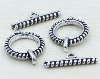 Bali Silver toggle clasps, antique Silver Plated Clasps for bracelets, jewelry closure clasps for jewelry making, coil design, 2 sets