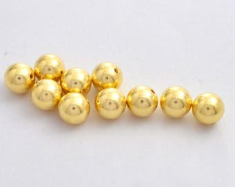 4.5mm -20pc Gold Vermeil Shiny Round Ball Beads  - Gold plated beads for jewelry making