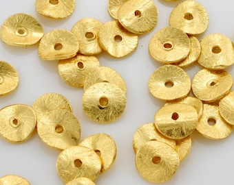 6mm -28pc Gold Vermeil Wavy Disc Spacer beads, Brushed gold plated disc potato chips, heishi spacers for jewelry making, gold spacer beads