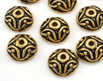 Gold Bead Caps Antique Finish 10mm Gold plated Bali bead caps for jewelry making 5pcs