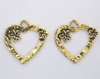 Artisan Heart love charm pendant 27x27mm large size heart charm pendant, antique gold plated 2 pieces