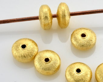 8mm - 5pcs Gold Vermeil Spacer Beads, brushed Saucer beads, gold plated spacers made of solid 925 Sterling Silver beads