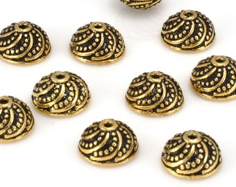 Bali Gold Bead Caps - 8mm, granulated antique finish gold plated bead caps for jewelry making 10pcs