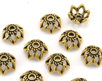 11mm (5) Gold vermeil Bead Caps, Large Bead Caps for jewelry making, gold plated flower bead caps, large bead caps for necklace and bracelet