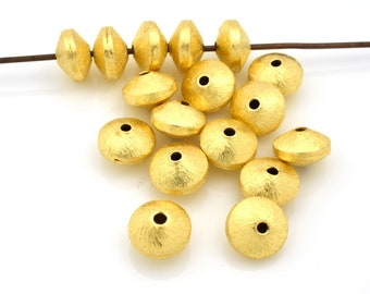 8mm gold saucer beads, gold plated Bi cone beads, brushed gold beads, jewelry supplies, gold spacer beads, 22kt gold plated