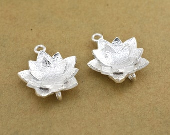 19mm Lotus Flower shape Earring connector, Silver Plated Earring Component, earring parts, dangle earring making 1 set