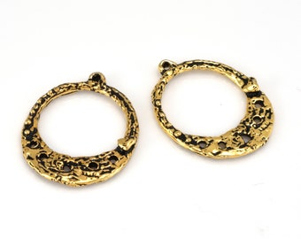 2 Chandelier Earring Making Findings, Bohemian Jewelry Components,  Earring parts supplies, Large 24K Gold Plated Hoops, Artisan Findings