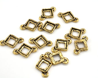 5 pieces Link connector charms, antique gold plated Square bezel charms