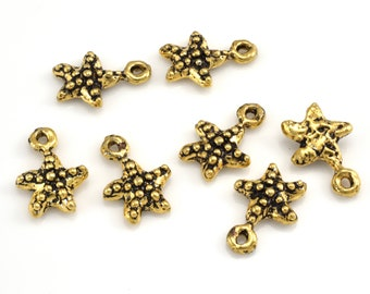 5 Bracelet Gold Charms Starfish Pendant charms, Artisan Findings Marine Live Dangle Charms, Earring making Beach Findings 5pcs-14mm