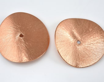 32mm Brushed Copper Potato Chips Beads - Shiny copper Plated Wavy Spacer Beads for Jewelry Making 2pcs