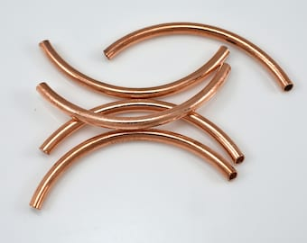 51mm Copper tube beads, curved tube beads, noodle beads, curved pipe beads
