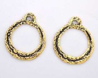 artisan handmade Earring findings 2pcs - 23mm Artisan earring findings, Round antique Gold plated earring components