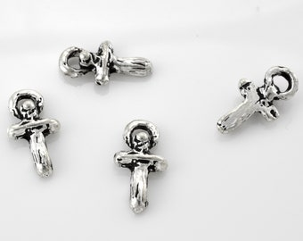 4 Silver cross charm pendant Tiny Jesus dangle charms, Silver plated, antique finish bracelet cross charm, dangle cross charms 8x15mm
