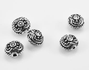 7mm - 4pcs Sterling Silver Bali beads, spacer beads for jewelry making, antique silver beads