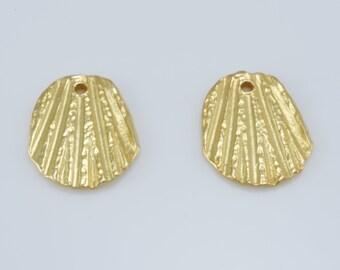 rustic gold charms, artisan findings, vermeil charms, gold plated pendant charms, jewelry findings, jewelry supplies 17x20mm