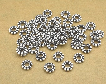 52pcs Silver Plated Spacers, silver flower spacers, Bali silver daisy spacers for jewelry making, antique silver spacer findings 6mm spacers