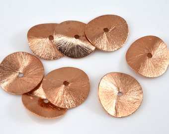 22mm Brushed Copper Potato Chips Beads - Shiny copper Plated Wavy Spacer Beads for Jewelry Making 5pcs