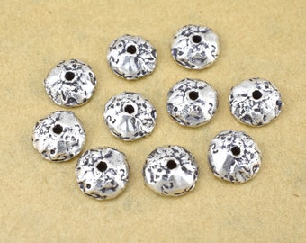 10 antique silver plated bead caps 9mm / 10pcs