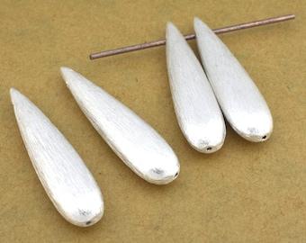Long Drop Dangle Beads, silver plated brushed finish teardrop beads 4pcs - 37x8mm
