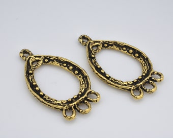 chandelier earring findings components, bohemian charms Drop shape handmade artisan Earring making part gold plated antique finish, 2pcs