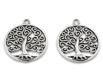 34x30mm silver tree of life pendant charm, antique silver plated pendants 2 pieces