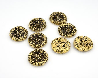 5pcs - 11mm Artisan handmade gold plated jewelry making buttons, round coin shape button with four holes