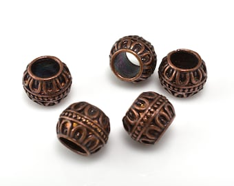 5 pcs -  7mm artison beads dark copper plated for jewelry making