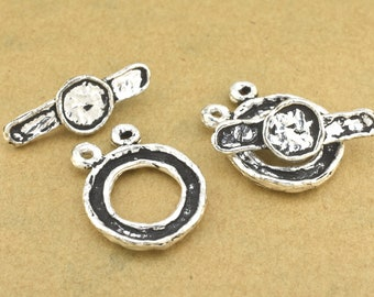 Artisan Silver toggle clasps for 2 strand Bracelets, antique silver toggle for Necklaces for jewelry making, silver plated closures clasps