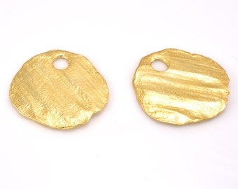 30mm Gold plated charms, Artisan Handmade bohemian findings, Large shiny gold plated pendant charms 2pcs