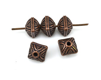 5 Dark antique Copper beads for jewelry making, square shape, Bali style copper spacer beads 8mm