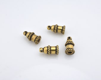 4pcs - 11mm Gold plated end caps for jewelry making