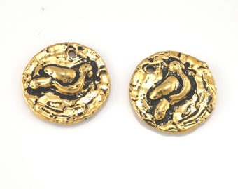 Gold Bird Charms Pendants 18mm Bohemian design artisan antique finish pendant - 2pcs