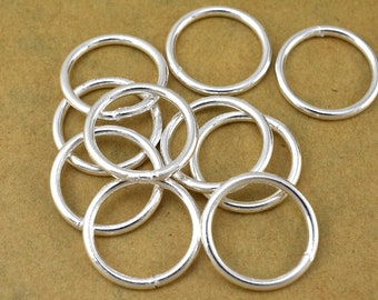 Silver Jump Rings - 18 mm Closed silver plated jumpring for jewelry making - large Round jump ring - jewelry findings  13 Gauge AWG, 10pcs
