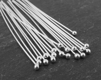 38pc - silver plated round ball head pins 66mm Long, 2.5 inches long, 21 gauge