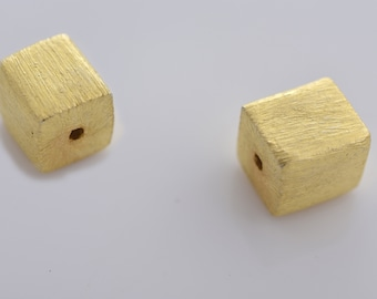 8mm -2pcs Gold Vermeil Cube Beads, Gold plated over 925 Solid Silver handmade Spacer box beads, Bulk square beads, gold spacers