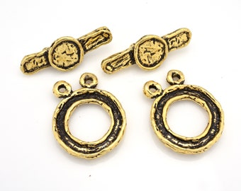 2 strand Gold toggle clasps for Bracelets, jewelry closures for necklaces, Artisan findings, antique multi strand clasps for jewelry making