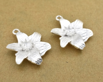 22mm Silver Plated Flower Earring Connectors Component, earring parts, dangle earring making 1 set