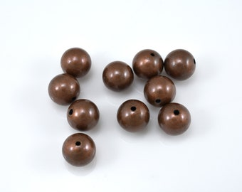 10pcs round copper Beads plain round antique aged copper Spacer Beads for Jewelry making seemless balls 8mm