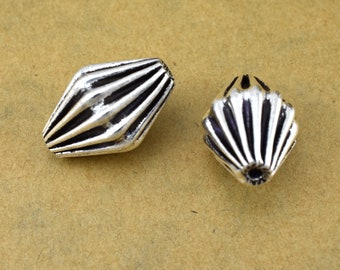2 piece corrugated antique silver plated beads, 21x13mm Bicone shape beads