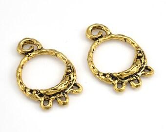 Earring Making Chandelier Earring Findings Designer gold plated earring component, earring hoops artisan handmade round hoops 1 pair 17x26mm