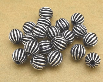 8mm Silver Plated antique corrugated beads, Antique Silver beads 20pcs