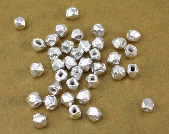 4mm faceted silver spacer beads, tiny silver plated beads 37pcs