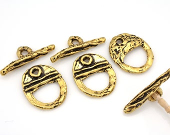 Artisan crafted 24k Gold plated Toggle Clasps for Bracelets, jewelry closures findings, supplies for jewelry making, antique finish, 2 sets