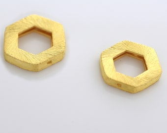 15mm -2pcs Gold Vermeil Hexagon shape Frame beads for 8mm beads, Gold plated over 925 Solid Silver handmade Spacer beads, Bulk beads 2pcs