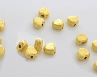 6mm - 14pcs Gold Vermeil Heart shape spacer beads, Brushed gold beads, gold plating over 925 Solid Silver handmade Spacer beads, Bulk beads